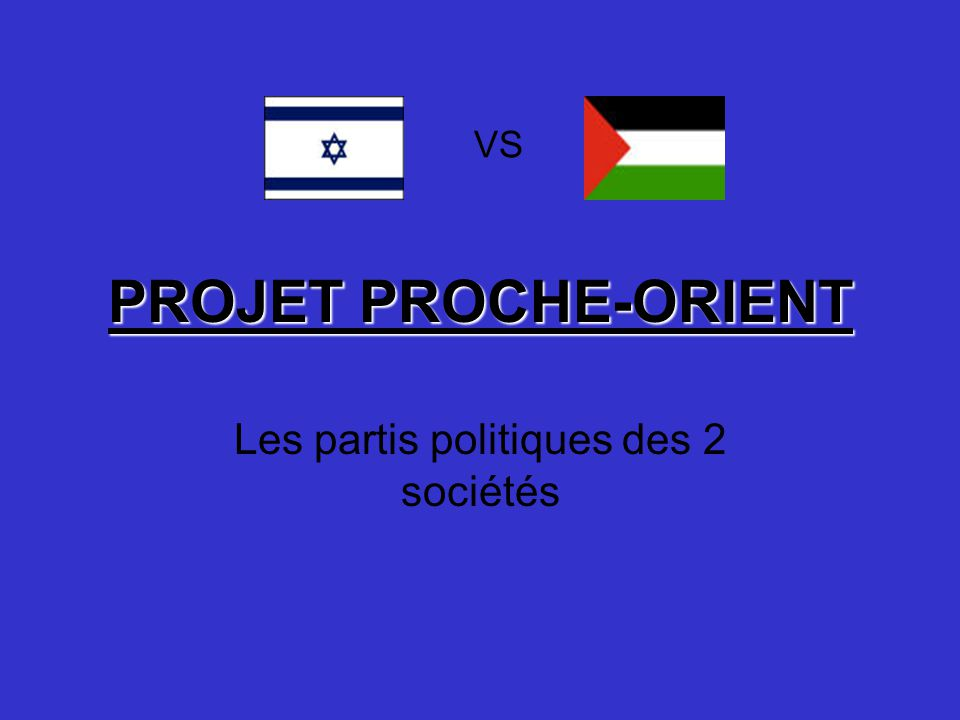 PROJET PROCHE-ORIENT Les partis politiques des 2 sociétés VS