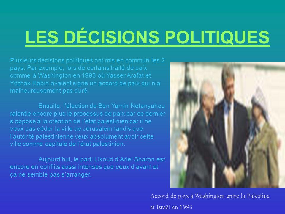 LES DÉCISIONS POLITIQUES Plusieurs décisions politiques ont mis en commun les 2 pays. Par exemple, lors de certains traité de paix comme à Washington
