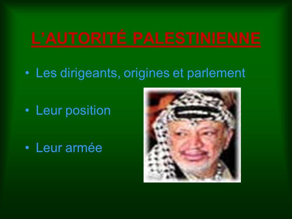 L'AUTORITÉ PALESTINIENNE Les dirigeants, origines et parlement Leur position Leur armée