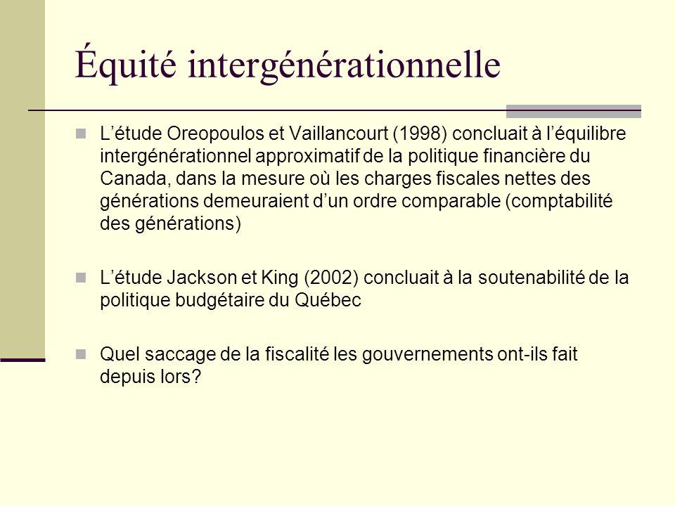 Équité intergénérationnelle L'étude Oreopoulos et Vaillancourt (1998) concluait à l'équilibre intergénérationnel approximatif de la politique financiè