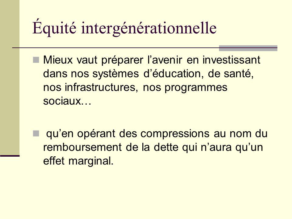 Équité intergénérationnelle Mieux vaut préparer l'avenir en investissant dans nos systèmes d'éducation, de santé, nos infrastructures, nos programmes