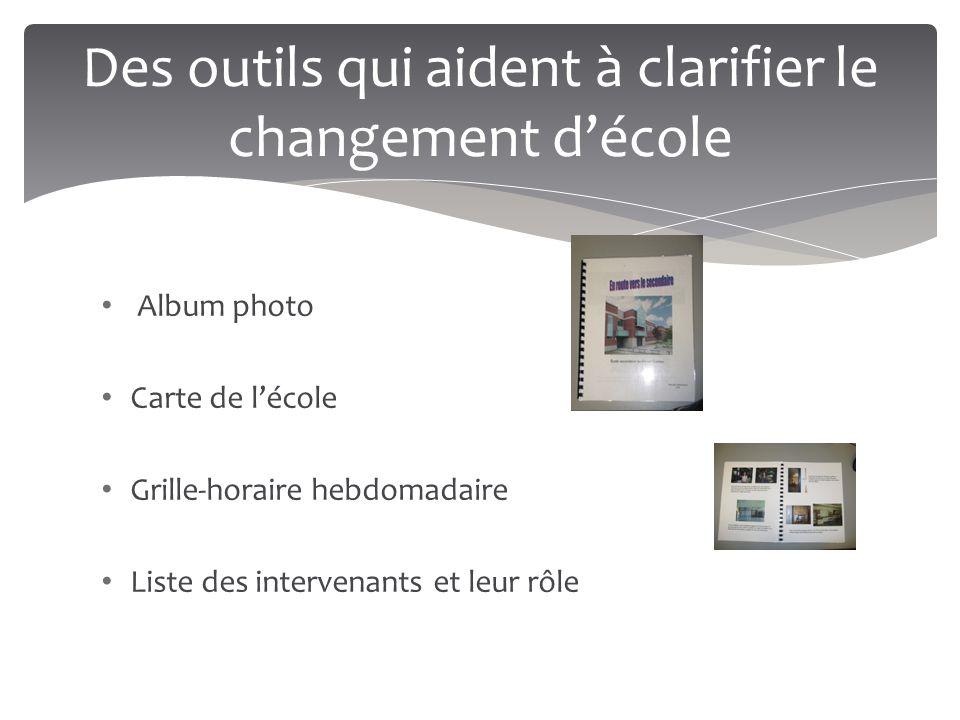 Des outils qui aident à clarifier le changement d'école Album photo Carte de l'école Grille-horaire hebdomadaire Liste des intervenants et leur rôle
