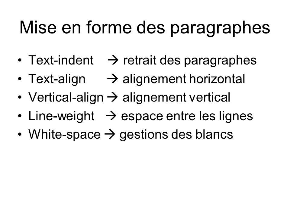 Mise en forme des paragraphes Text-indent  retrait des paragraphes Text-align  alignement horizontal Vertical-align  alignement vertical Line-weigh