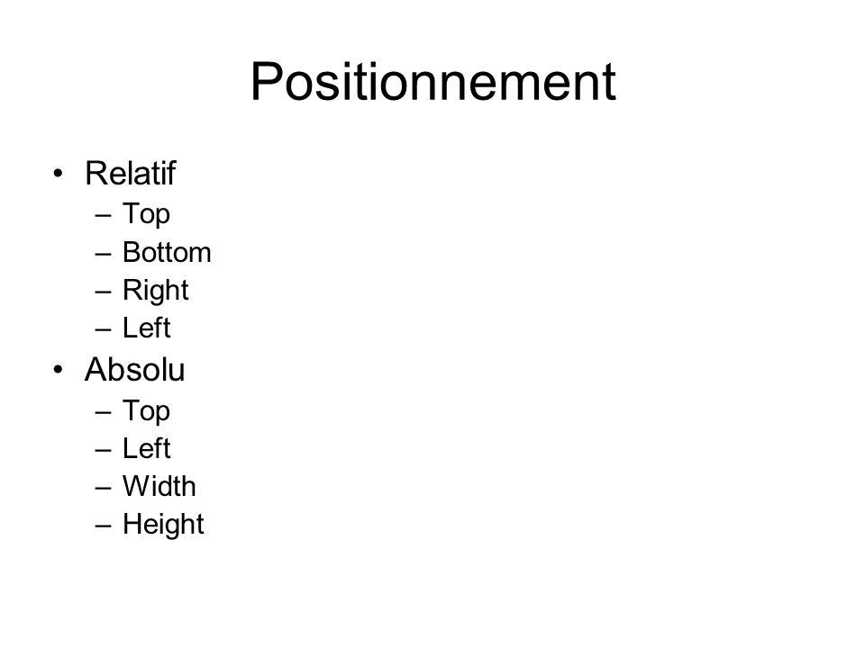 Positionnement Relatif –Top –Bottom –Right –Left Absolu –Top –Left –Width –Height