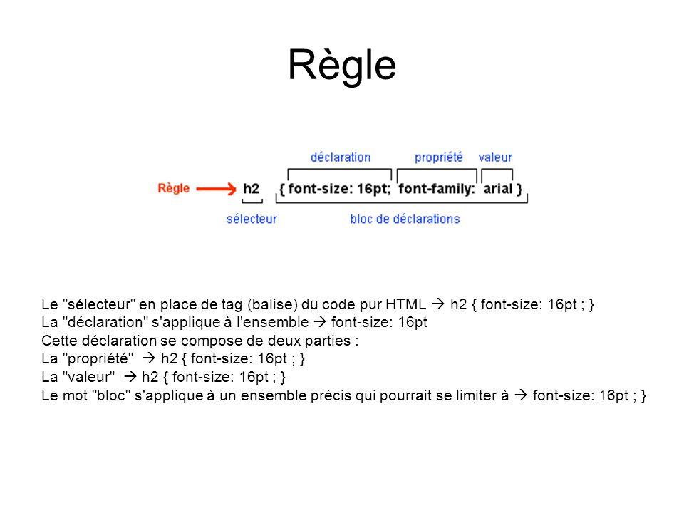Définition d'une feuille de style Il y a trois façons différentes de définir une feuille de style : –Définition spécifique Ex.