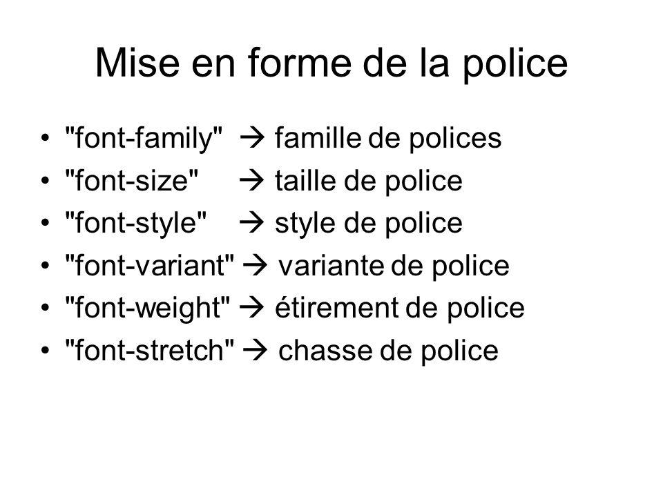 Mise en forme de la police