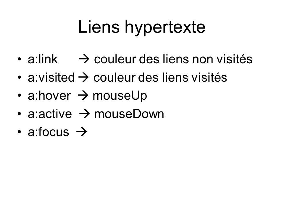Liens hypertexte a:link  couleur des liens non visités a:visited  couleur des liens visités a:hover  mouseUp a:active  mouseDown a:focus 