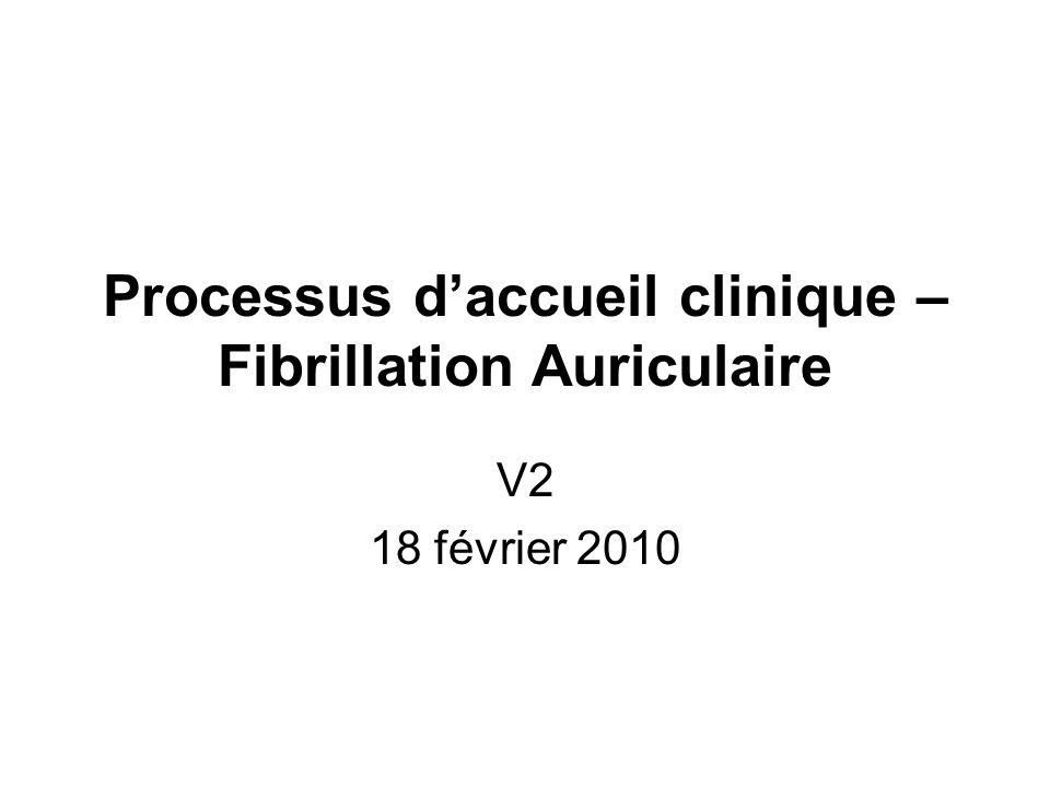 Processus d'accueil clinique – Fibrillation Auriculaire V2 18 février 2010