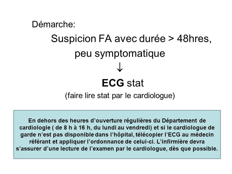 Démarche: Suspicion FA avec durée > 48hres, peu symptomatique  ECG stat (faire lire stat par le cardiologue) En dehors des heures d'ouverture régulières du Département de cardiologie ( de 8 h à 16 h, du lundi au vendredi) et si le cardiologue de garde n'est pas disponible dans l'hôpital, télécopier l'ECG au médecin référant et appliquer l'ordonnance de celui-ci.