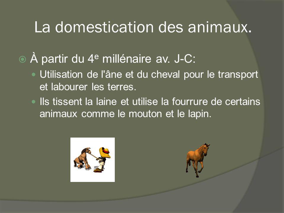 La domestication des animaux.  À partir du 4 e millénaire av. J-C: Utilisation de l'âne et du cheval pour le transport et labourer les terres. Ils ti