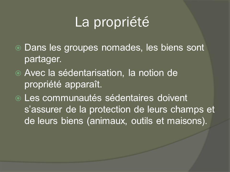 La propriété  Dans les groupes nomades, les biens sont partager.  Avec la sédentarisation, la notion de propriété apparaît.  Les communautés sédent