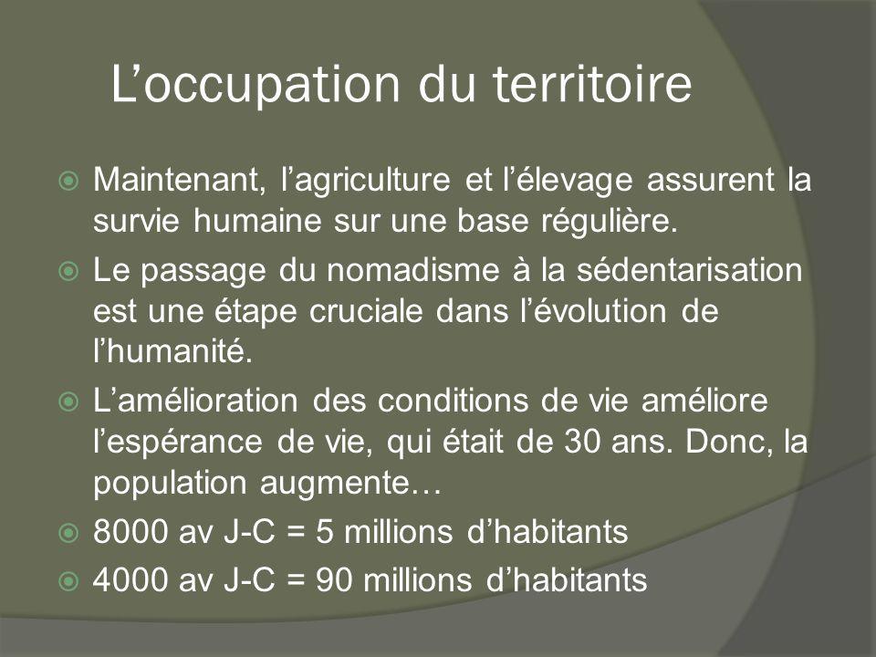 L'occupation du territoire  Maintenant, l'agriculture et l'élevage assurent la survie humaine sur une base régulière.  Le passage du nomadisme à la