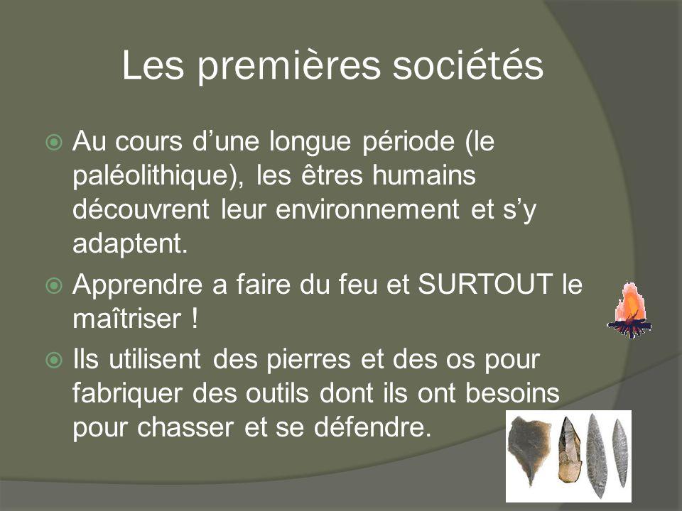 Les premières sociétés  Au cours d'une longue période (le paléolithique), les êtres humains découvrent leur environnement et s'y adaptent.  Apprendr