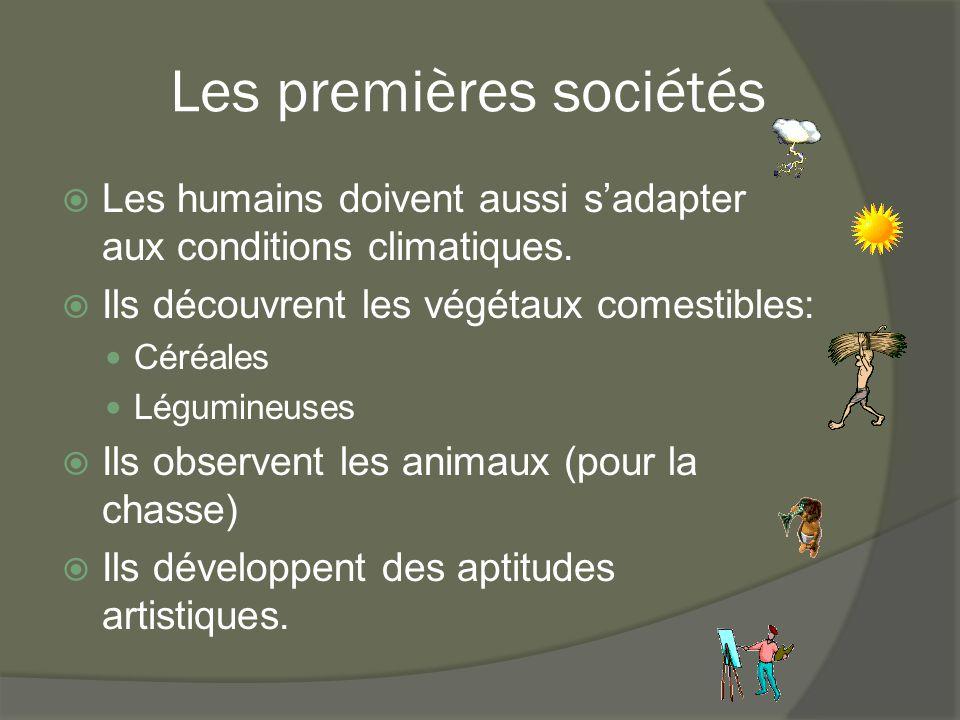 Les premières sociétés  Les humains doivent aussi s'adapter aux conditions climatiques.  Ils découvrent les végétaux comestibles: Céréales Légumineu