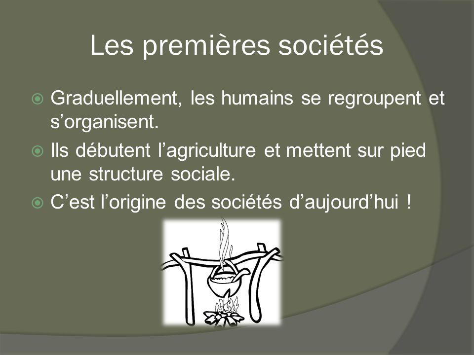 Les premières sociétés  Graduellement, les humains se regroupent et s'organisent.  Ils débutent l'agriculture et mettent sur pied une structure soci