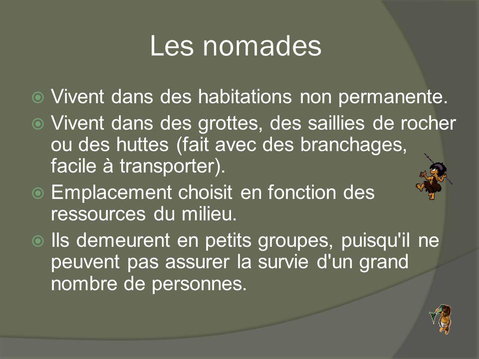 Les nomades  Vivent dans des habitations non permanente.  Vivent dans des grottes, des saillies de rocher ou des huttes (fait avec des branchages, f
