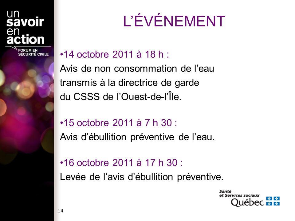 14 octobre 2011 à 18 h : Avis de non consommation de l'eau transmis à la directrice de garde du CSSS de l'Ouest-de-l'Île. 15 octobre 2011 à 7 h 30 : A