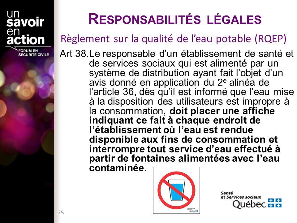26  Loi sur la santé publique  Loi sur la sécurité incendie  Loi sur la sécurité dans les édifices publics  Règlement sur la sécurité dans les édifices publics  Règlement sur la santé et la sécurité du travail  Règlement sur la prévention des incendies de la Ville de Montréal  Code national de prévention des incendies du Canada 2005  Code de plomberie du Québec 2009  Code de sécurité  Avis d'interruption du système de protection incendie à la Direction des assurances du réseau de la santé et des services sociaux (si plus de 72 heures).