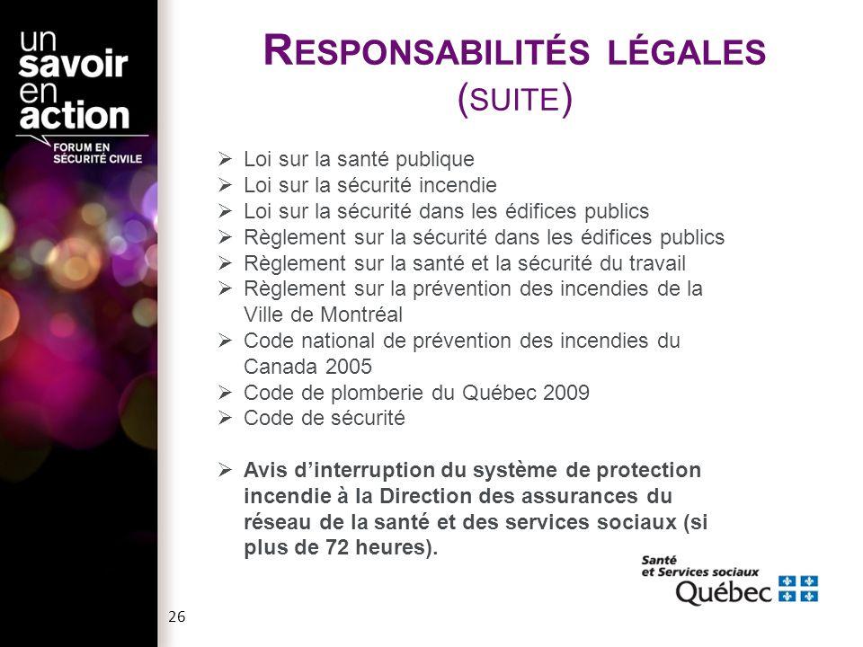 26  Loi sur la santé publique  Loi sur la sécurité incendie  Loi sur la sécurité dans les édifices publics  Règlement sur la sécurité dans les édi