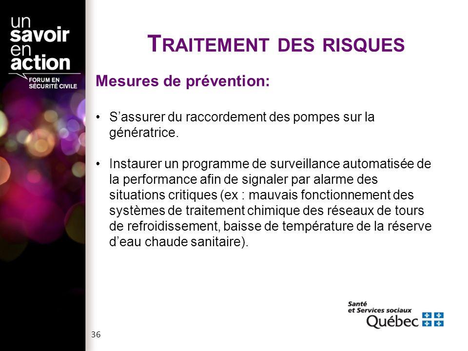 T RAITEMENT DES RISQUES Mesures de prévention: S'assurer du raccordement des pompes sur la génératrice. Instaurer un programme de surveillance automat