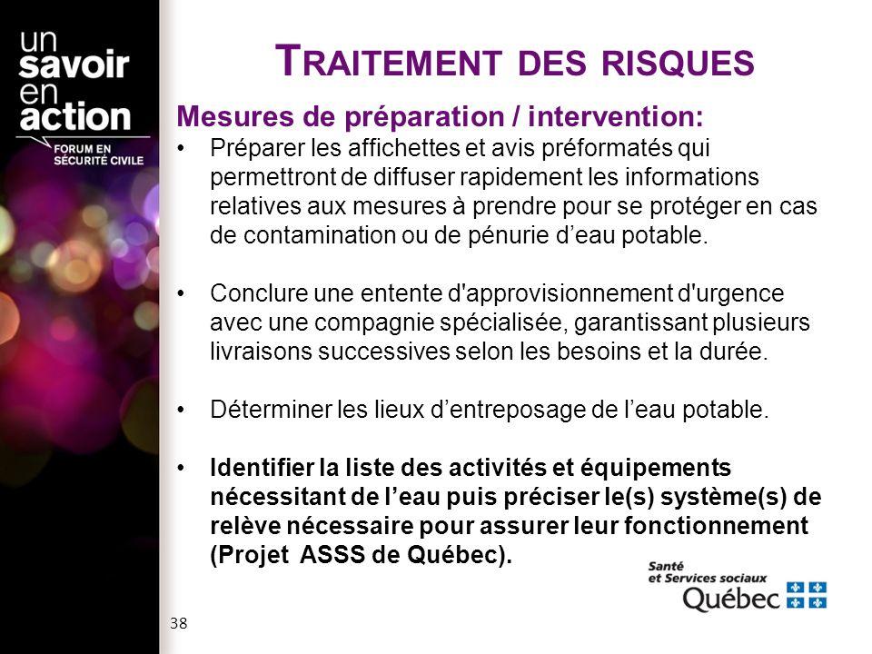 T RAITEMENT DES RISQUES Mesures de rétablissement: S'assurer, auprès des autorités, de la qualité de l'eau potable avant de rétablir le fonctionnement des fontaines.