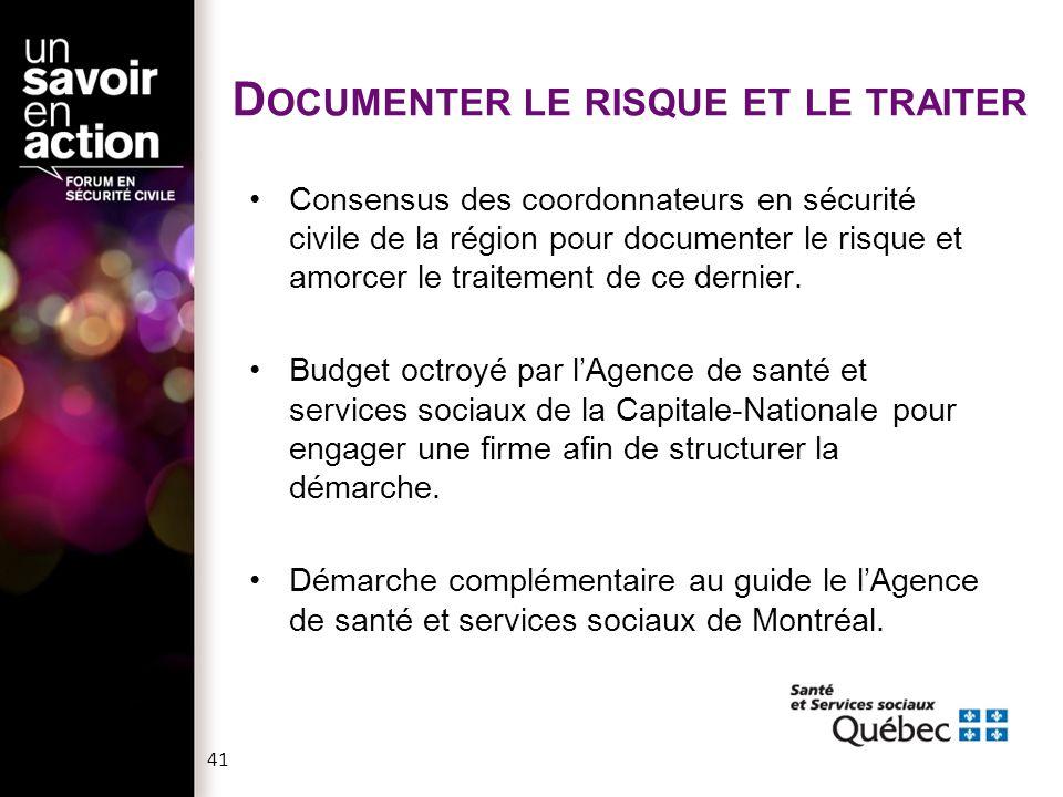 D OCUMENTER LE RISQUE : COMMENT .