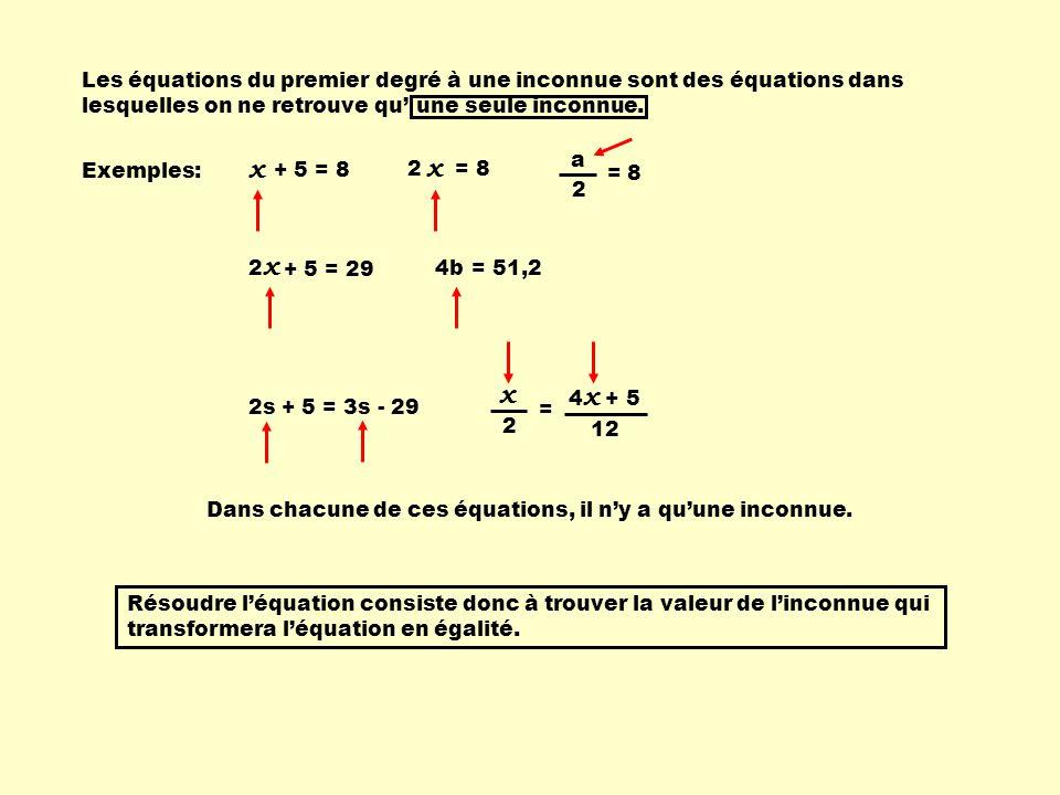 Exemples: + 5 = 8 x ici, x = 3 3 + 5 = 8 égalité 4b = 51,2 ici, b = 12,8 4 X 12,8 = 51,2 égalité Certaines équations sont faciles à résoudre, d'autres sont plus difficiles; mais elles répondent toutes aux mêmes règles algébriques.