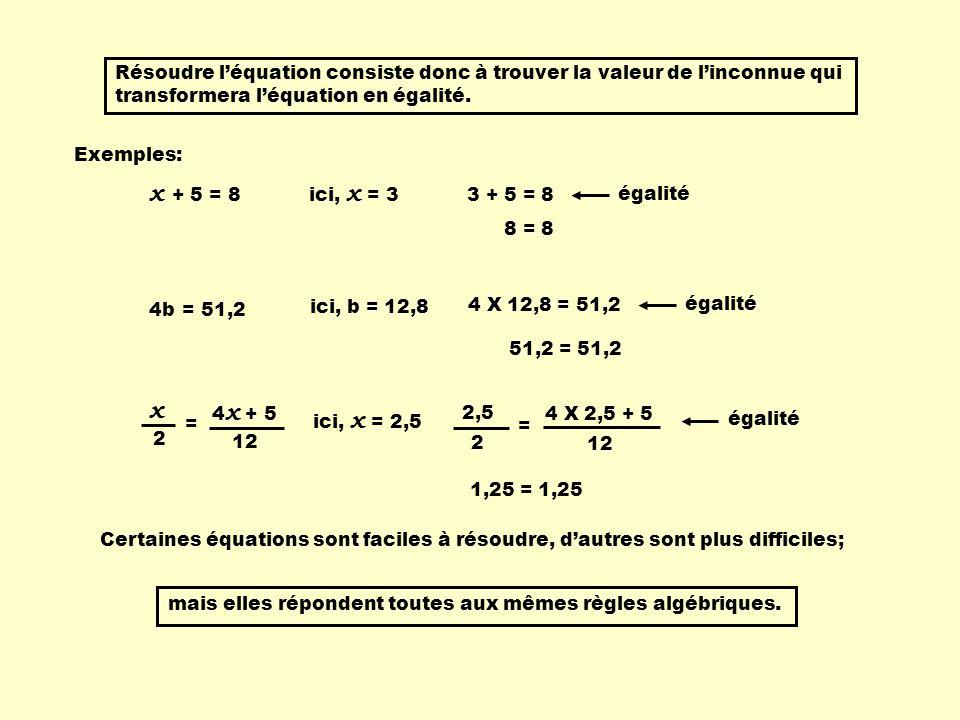 1)Les termes contenant l'inconnue doivent se retrouver que d'un seul côté du signe égal 2 x + 12 = 20 6 x + 12 = 4 x + 20 Règles: 2 x + 0 = 8 2) Lorsque le terme contenant l'inconnue se retrouve seul, on isole l'inconnue.