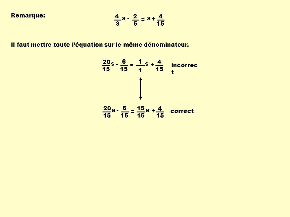 Remarque: 4 3 s - 2 5 = s + 4 15 Il faut mettre toute l'équation sur le même dénominateur.
