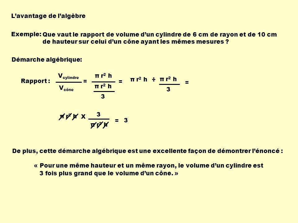 L'avantage de l'algèbre Exemple: Que vaut le rapport de volume d'un cylindre de 6 cm de rayon et de 10 cm de hauteur sur celui d'un cône ayant les mêmes mesures .