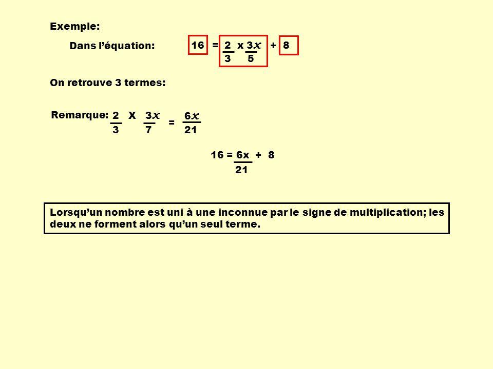 16 = 2 x 3 x + 8 3 5 Exemple: Dans l'équation: On retrouve 3 termes: Remarque: Lorsqu'un nombre est uni à une inconnue par le signe de multiplication; les deux ne forment alors qu'un seul terme.
