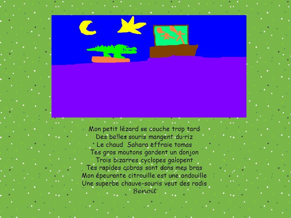 Mon petit lézard se couche trop tard Des belles souris mangent du riz Le chaud Sahara effraie tomas Tes gros moutons gardent un donjon Trois bizarres cyclopes galopent Tes rapides cobras sont dans mes bras Mon épeurante citrouille est une andouille Une superbe chauve-souris veut des radis Benoit