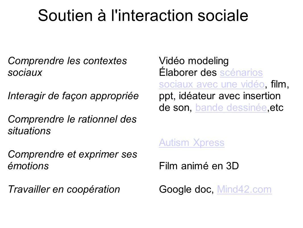 Soutien à l'interaction sociale Comprendre les contextes sociaux Interagir de façon appropriée Comprendre le rationnel des situations Comprendre et ex