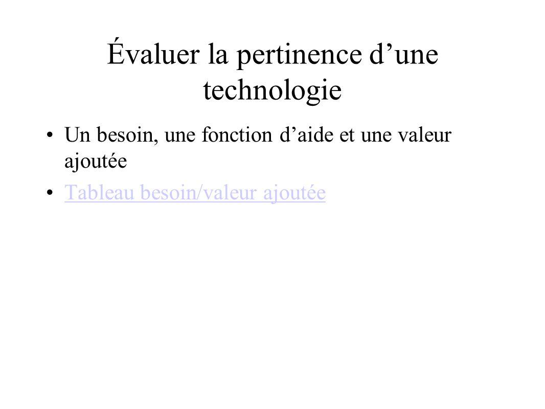 Évaluer la pertinence d'une technologie Un besoin, une fonction d'aide et une valeur ajoutée Tableau besoin/valeur ajoutée
