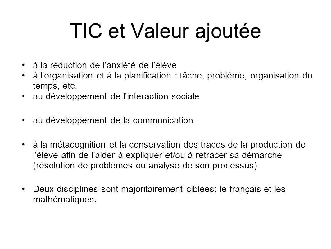 TIC et Valeur ajoutée à la réduction de l'anxiété de l'élève à l'organisation et à la planification : tâche, problème, organisation du temps, etc. au