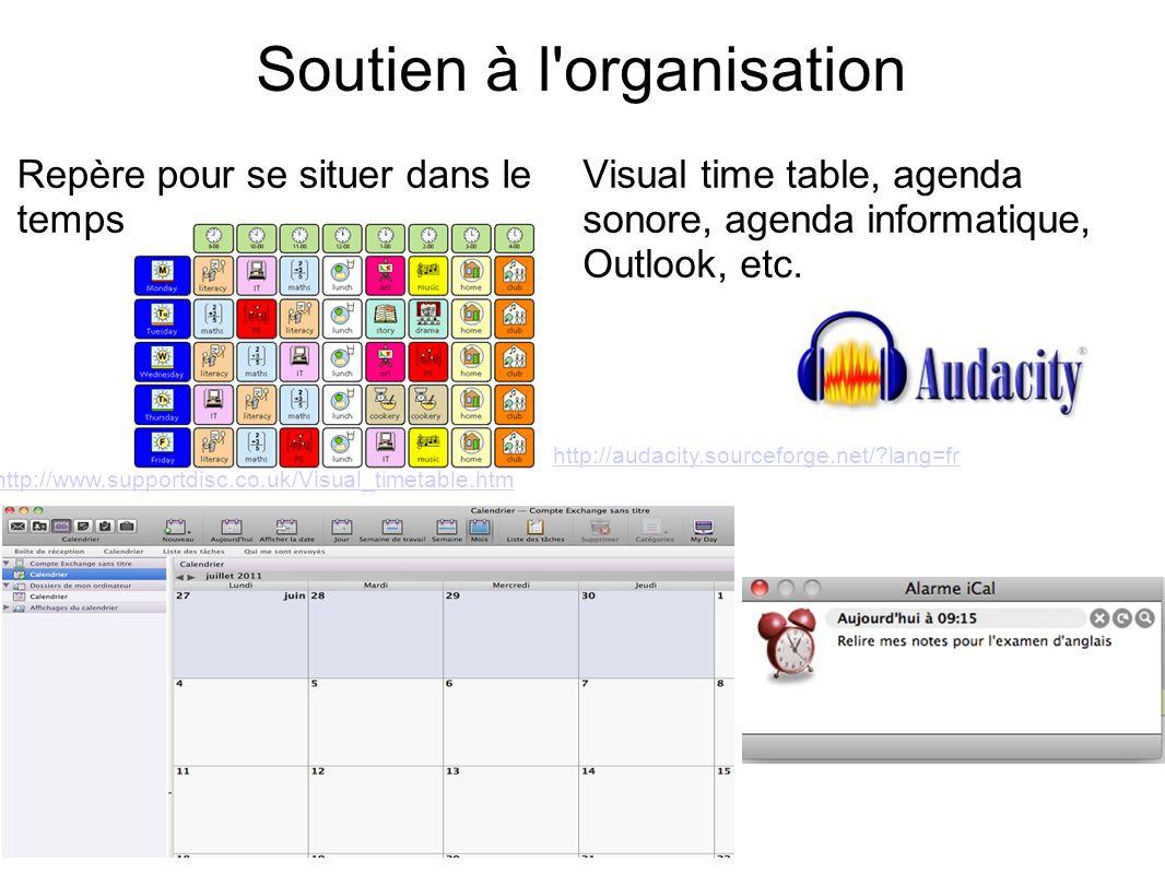 Soutien à l'organisation Repère pour se situer dans le temps Visual time table, agenda sonore, agenda informatique, Outlook, etc. http://www.supportdi