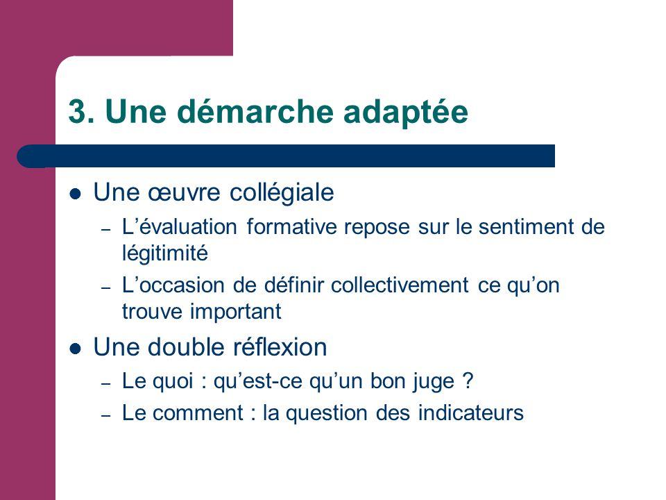 3. Une démarche adaptée Une œuvre collégiale – L'évaluation formative repose sur le sentiment de légitimité – L'occasion de définir collectivement ce