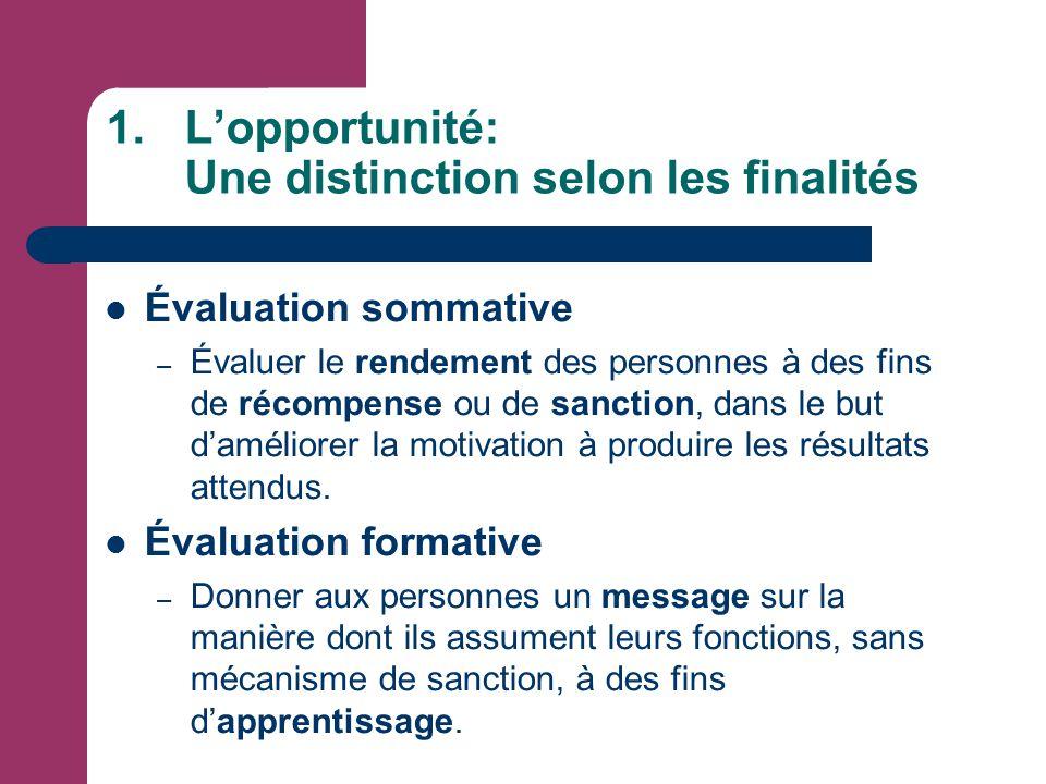 1.L'opportunité: Une distinction selon les finalités Évaluation sommative – Évaluer le rendement des personnes à des fins de récompense ou de sanction, dans le but d'améliorer la motivation à produire les résultats attendus.