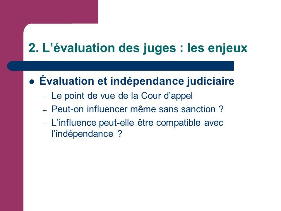 2. L'évaluation des juges : les enjeux Évaluation et indépendance judiciaire – Le point de vue de la Cour d'appel – Peut-on influencer même sans sanct