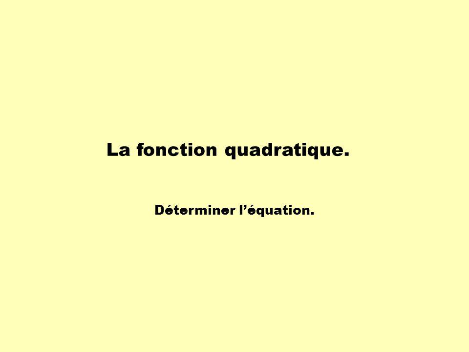 La fonction quadratique. Déterminer l'équation.