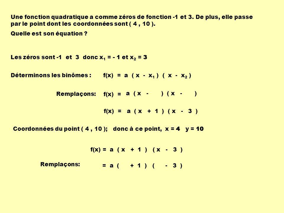 Une fonction quadratique a comme zéros de fonction -1 et 3.