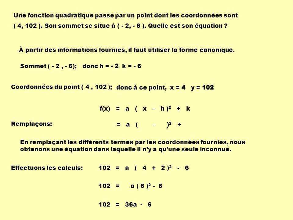 Une fonction quadratique passe par un point dont les coordonnées sont ( 4, 102 ).