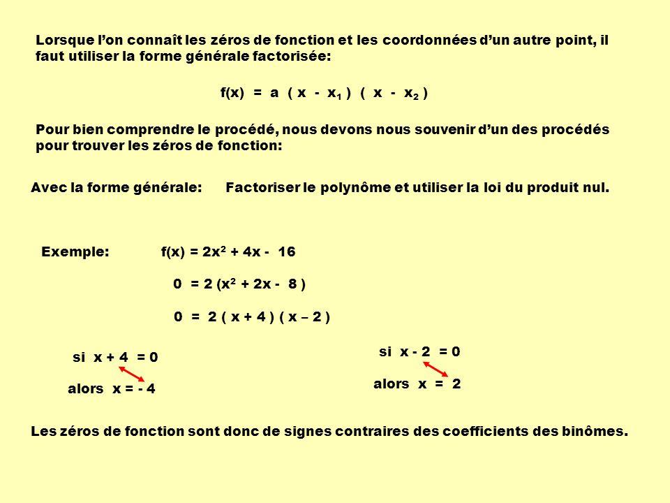 Lorsque l'on connaît les zéros de fonction et les coordonnées d'un autre point, il faut utiliser la forme générale factorisée: Pour bien comprendre le procédé, nous devons nous souvenir d'un des procédés pour trouver les zéros de fonction: Avec la forme générale: Factoriser le polynôme et utiliser la loi du produit nul.
