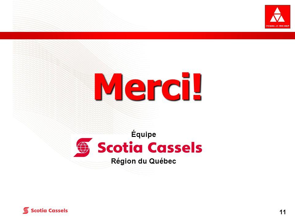 Une équipe….un même objectif 11 Merci! Équipe Région du Québec