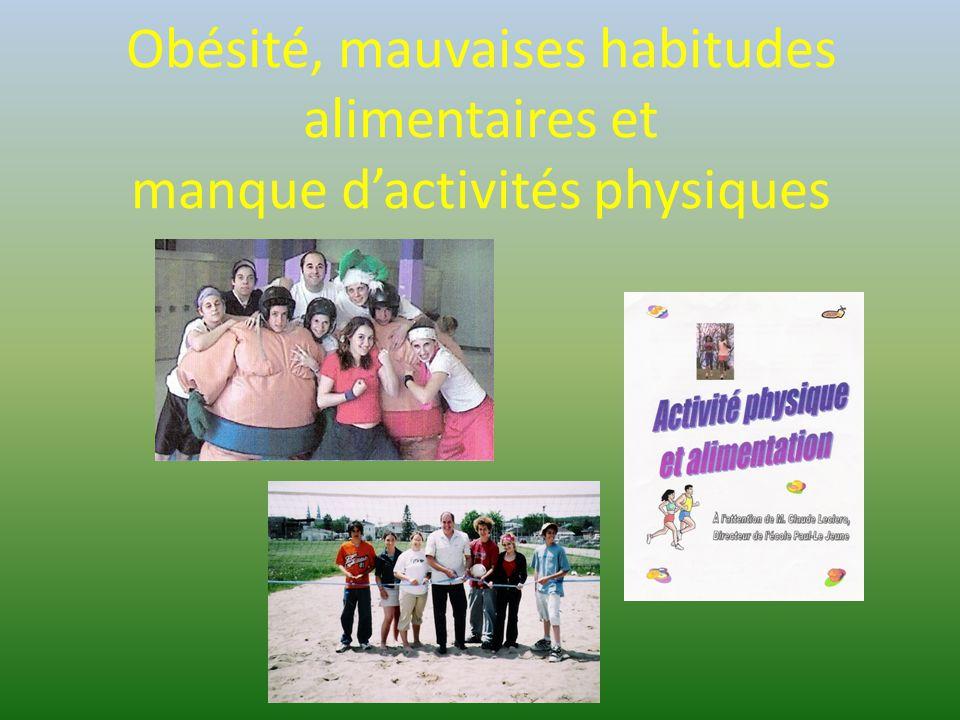 Obésité, mauvaises habitudes alimentaires et manque d'activités physiques