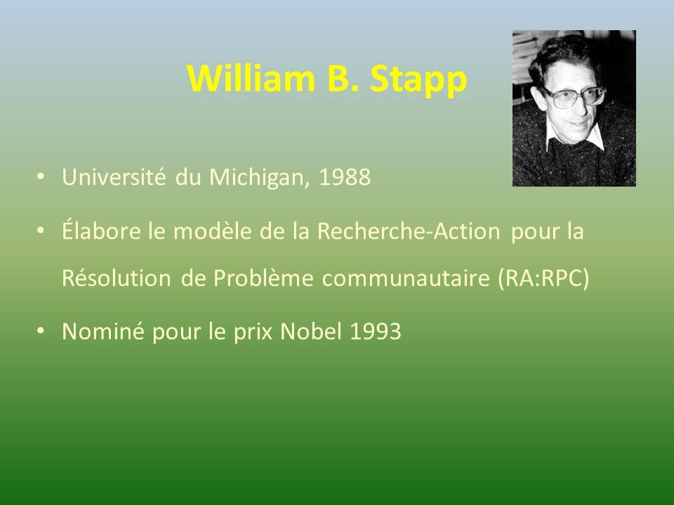 William B. Stapp Université du Michigan, 1988 Élabore le modèle de la Recherche-Action pour la Résolution de Problème communautaire (RA:RPC) Nominé po