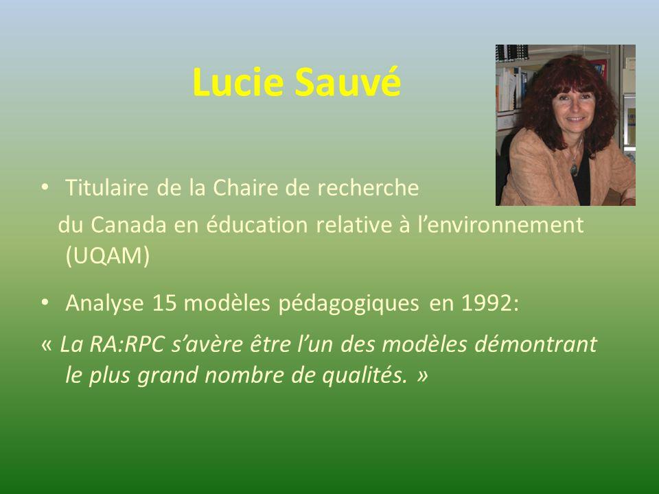 Lucie Sauvé Titulaire de la Chaire de recherche du Canada en éducation relative à l'environnement (UQAM) Analyse 15 modèles pédagogiques en 1992: « La RA:RPC s'avère être l'un des modèles démontrant le plus grand nombre de qualités.
