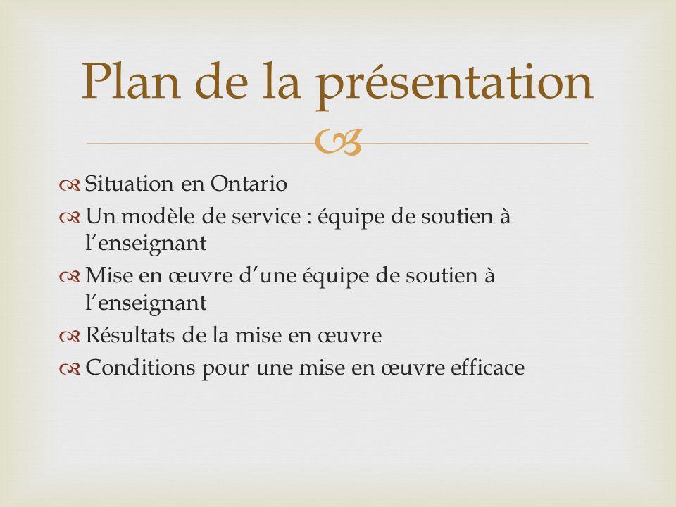   Situation en Ontario  Un modèle de service : équipe de soutien à l'enseignant  Mise en œuvre d'une équipe de soutien à l'enseignant  Résultats