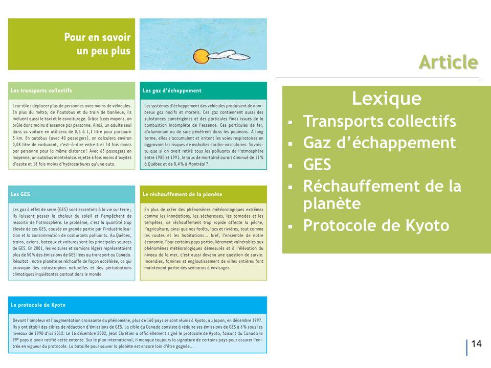14 Article Lexique  Transports collectifs  Gaz d'échappement  GES  Réchauffement de la planète  Protocole de Kyoto