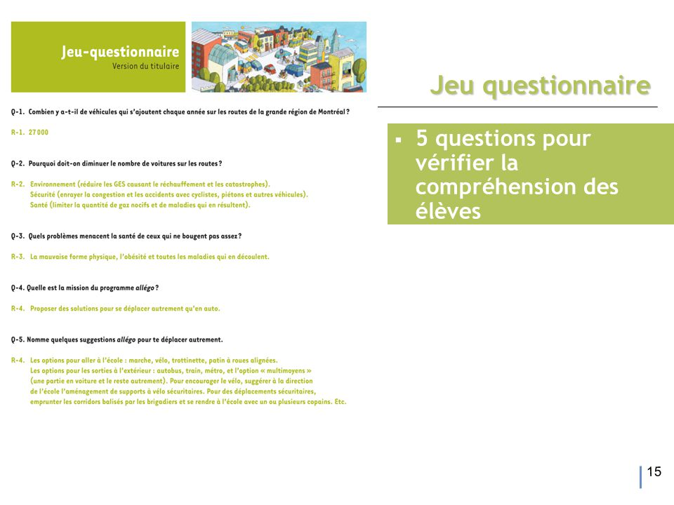 15 Jeu questionnaire  5 questions pour vérifier la compréhension des élèves